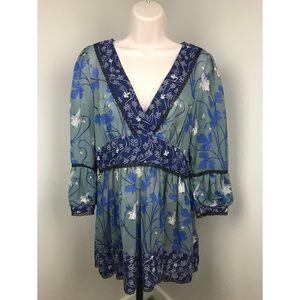 Anthropologie Fei Silk Floral Tunic